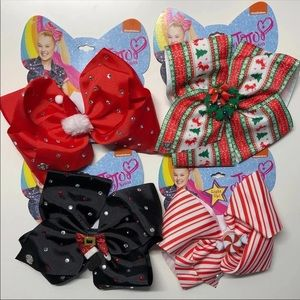 Jojo siwa 4 Christmas hair bows bundle new